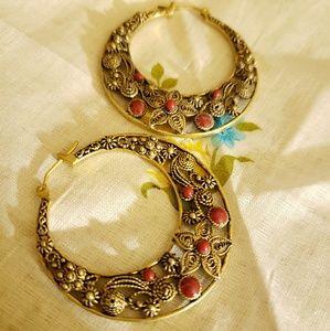 Lucky Brand Filigree Gold/Coral Hoop Earrings NWOT